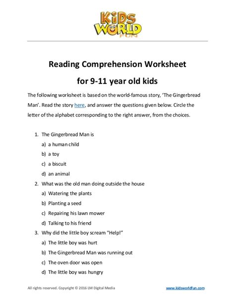 Reading Comprehension Test Year 9 | reading comprehension worksheet for 9 11 years old kids