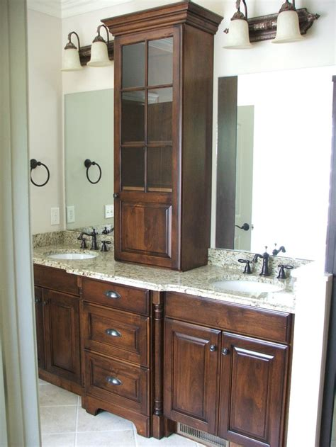 bathroom her cabinet amazing work on this double vanity maximizing space for