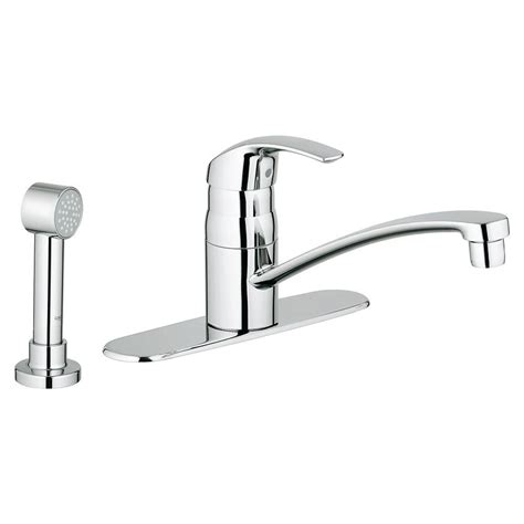 kitchen faucet side spray grohe eurosmart single handle side sprayer kitchen faucet in starlight chrome with escutcheon