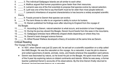 Darwin And The Theory Of Evolution Worksheet Answers by Darwin And The Theory Of Evolution Worksheet Docs