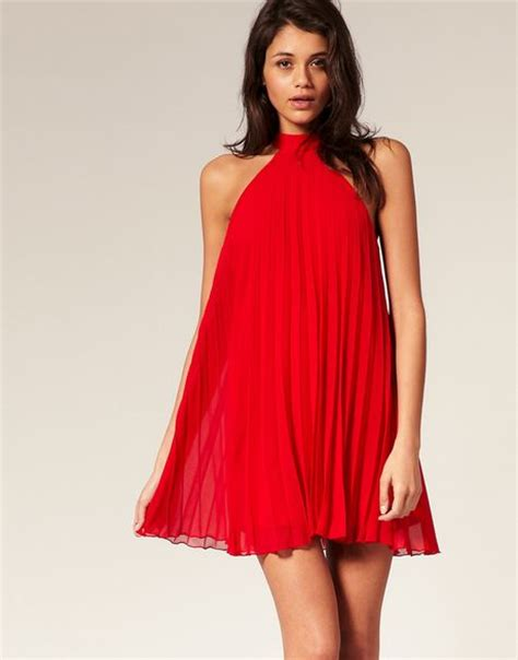 what is a swing dress asos collection asos pleated swing dress with halter neck