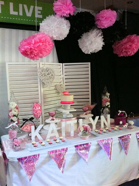 Pink Black And White 21st Candy Buffet Lolly Buffet By Pink And Black Buffet