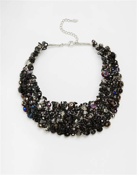 Black Collar Necklace lyst aldo roccoa statement collar necklace in black