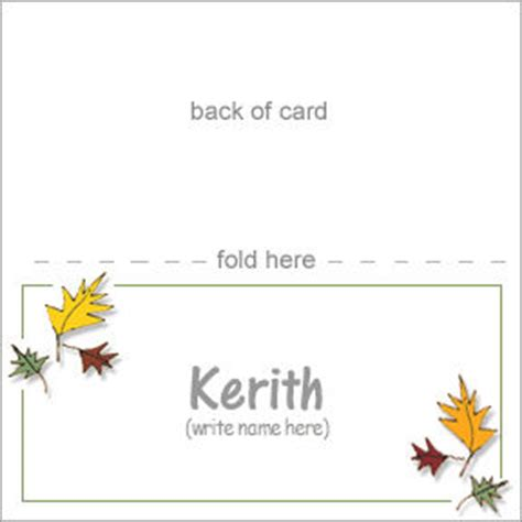 Pretty Placecards For A Thanksgiving Table Thanksgiving Place Cards Template