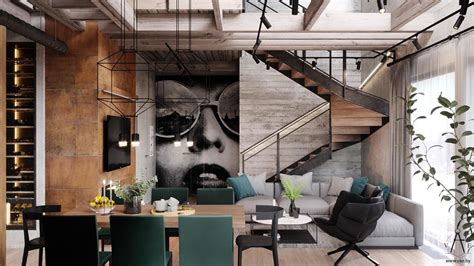 Industrial Stil by Warm Industrial Style House With Layout