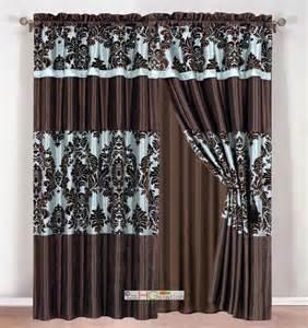 Brown Valance Curtains 4 Silky Satin Flocking Damask Floral Stripe Curtain Set