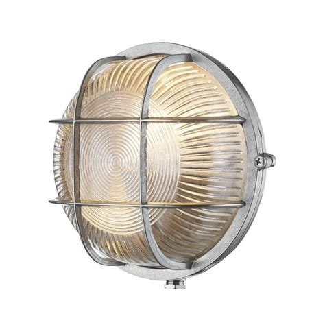 Nautical Style Outdoor Lighting Circular Nautical Style Bulkhead Wall Light In Pewter With Ribbed Glass