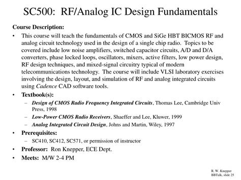 analog integrated circuit design by johns martin wiley 1997 ppt the effect of substrate coupled noise on the design of sige bicmos circuits for rf mixed