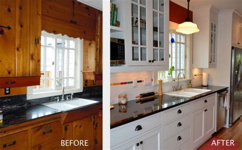 How To Paint Pine Kitchen Cupboards by Before And After Kitchen Remodel Pictures