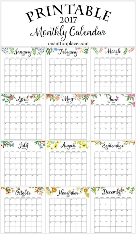 printable year at a glance calendar 2017 2017 free printable monthly calendar on sutton place