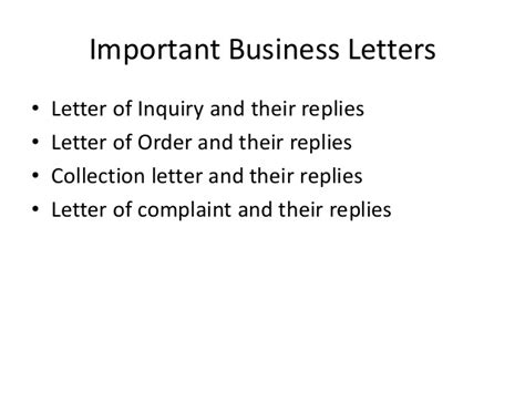 Inquiry Letter Importance Important Business Letters