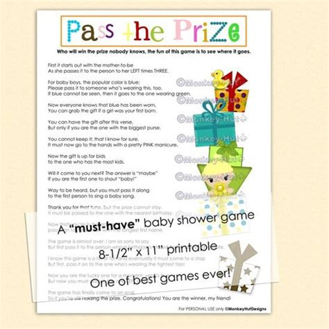 Pass The Prize Baby Shower Poem by Pass The Prize Baby Shower A Must And So By
