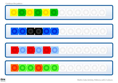 pattern activities with unifix cubes continue the pattern 2 colours includes templates for