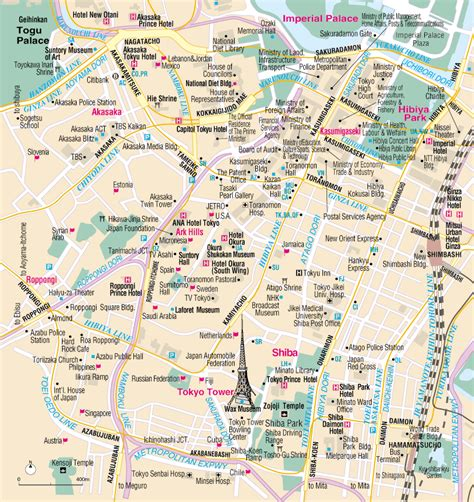 map of tokyo map of roppongi tokyo tourism and travel guide