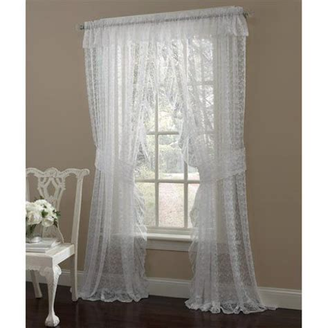 lace curtains canada 84 quot long white priscilla ruffled lace curtain pair with