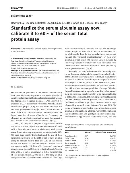 m protein measurement standardize the serum albumin assay now calibrate it to