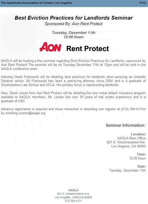 Los Angeles Apartment Eviction Process Attorney Piotrowski Seminar At Apartment Association Of