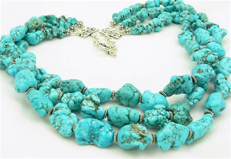turquoise stone necklace turquoise statement necklace gemstone necklace sterling