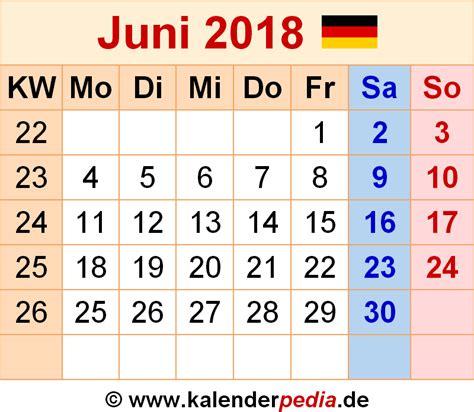 Kalender Juni 2018 Zum Ausdrucken Kalender Juni 2018 Als Pdf Vorlagen