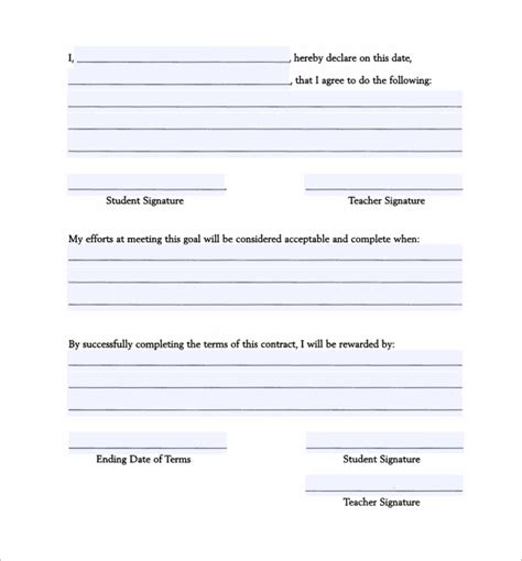 behavior contract template 13 free sles exles