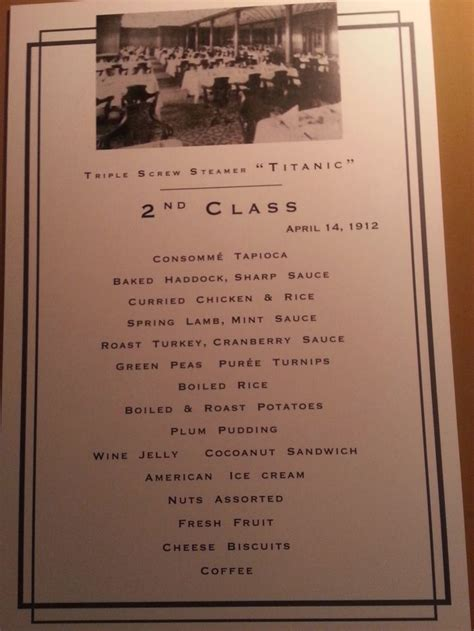 titanic second class menu titanic the second class menu titanic