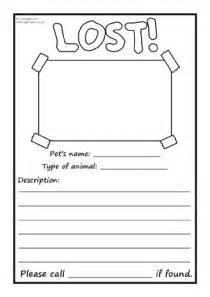lost template pet animals primary teaching resources and printables
