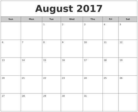 Calendar 2017 August And September Printable August Calendars
