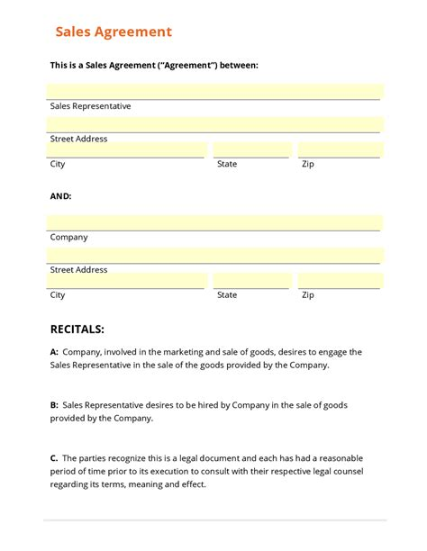 sales rep contract template business form template gallery