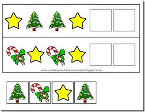 christmas pattern worksheets preschoolers christmas pattern activity use the game pieces to