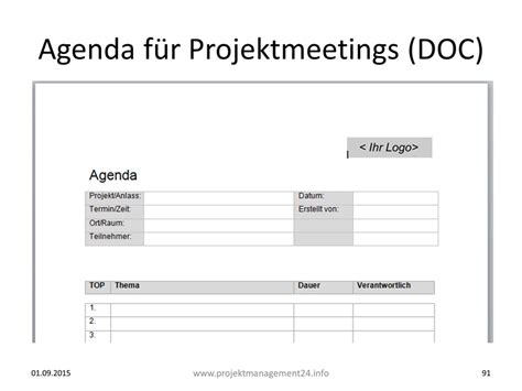 Word Vorlage Agenda Agenda F 252 R Projektmeetings Mit Vorlage Zum In Word Projekmanagement24