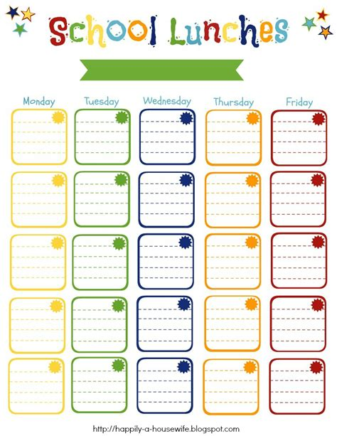school lunch calendar template happily a back to school 2013 school lunches