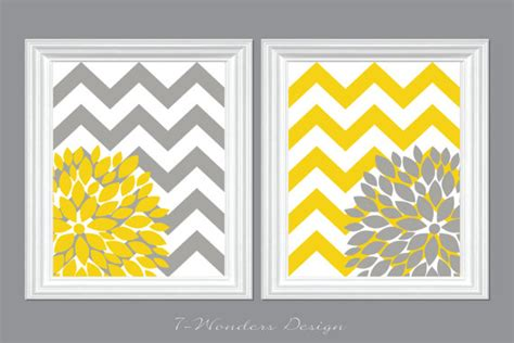 yellow and grey home decor picture frames by flower bursts with chevron zig zags modern home wall art