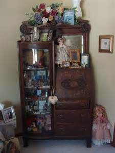 Antique Secretary Curio Cabinet Curved Glass Door Antique China Cabinets Photos Antique