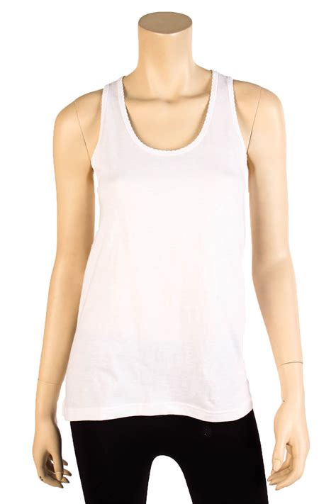 Top Fit To L womens fit tank top scalloped trim 100 cotton relaxed flowy basic s m l ebay