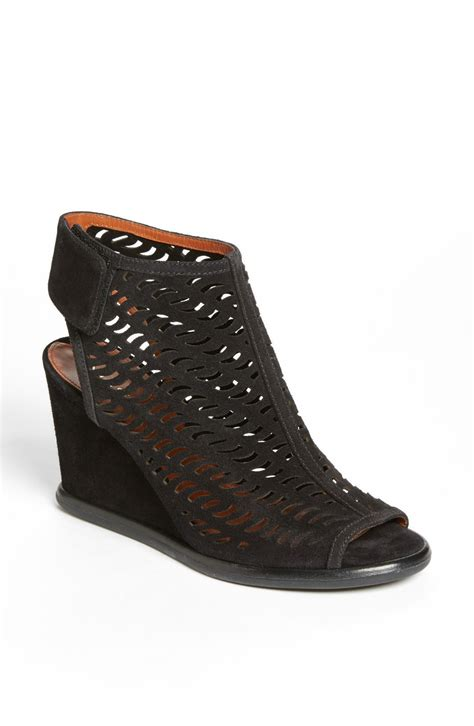 via spiga delsy wedge bootie in black black suede lyst