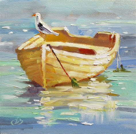 boat oil painting tom brown fine art boat sea gull harbor colorful