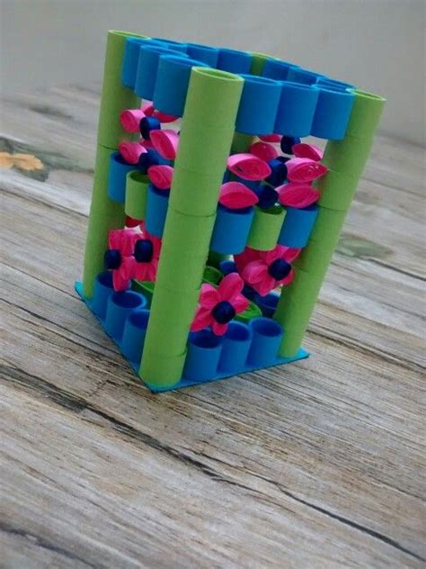 How To Make A Pen Stand With Paper - paper quilling pen stand pdf plan free