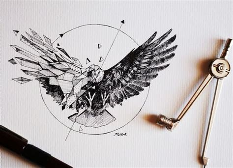 black half geometric eagle in circle tattoo design