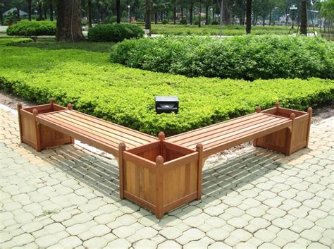 outdoor bench with planter boxes benches and flower boxes inmod style