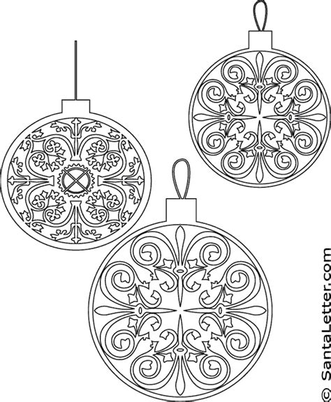 christmas ornaments coloring pages santaletter