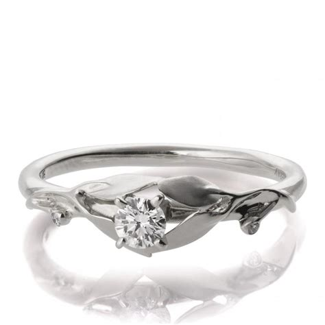Wedding Rings Leaves by Leaves Engagement Ring 18k White Gold And