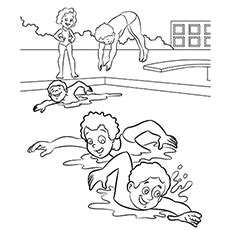 coloring page boy swimming swimming coloring pages murderthestout