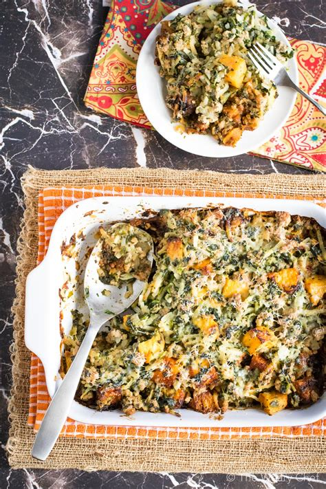 fall potluck casserole with turkey and squash the weary chef