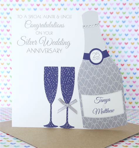 Handmade Silver Wedding Anniversary Cards - personalised handmade silver 25th wedding anniversary card