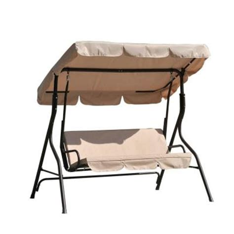 home depot patio swings 3 person duet steel polyester patio swing
