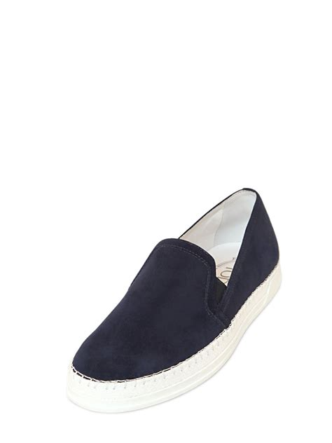 slip on sneakers for tod s suede slip on sneakers in blue for lyst