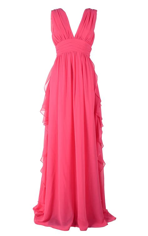 Msgm Dress msgm msgm fluted ruffles chiffon maxi dress fucsia