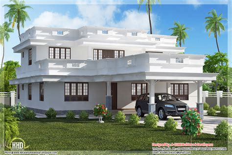 Home Design Roof Plans by Flat Roof Home Design With 4 Bedroom Kerala Home Design