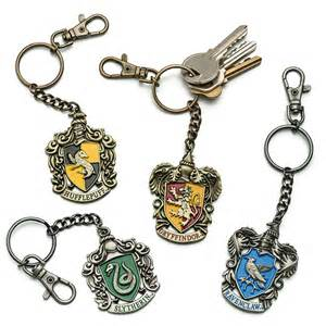 harry potter house crest keychains thinkgeek