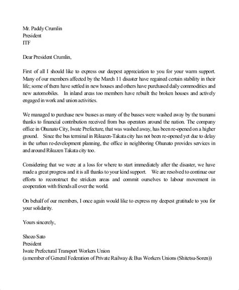 Thank You Letter With Appreciation Sle Thank You Letters For Appreciation 8 Exles In Word Pdf